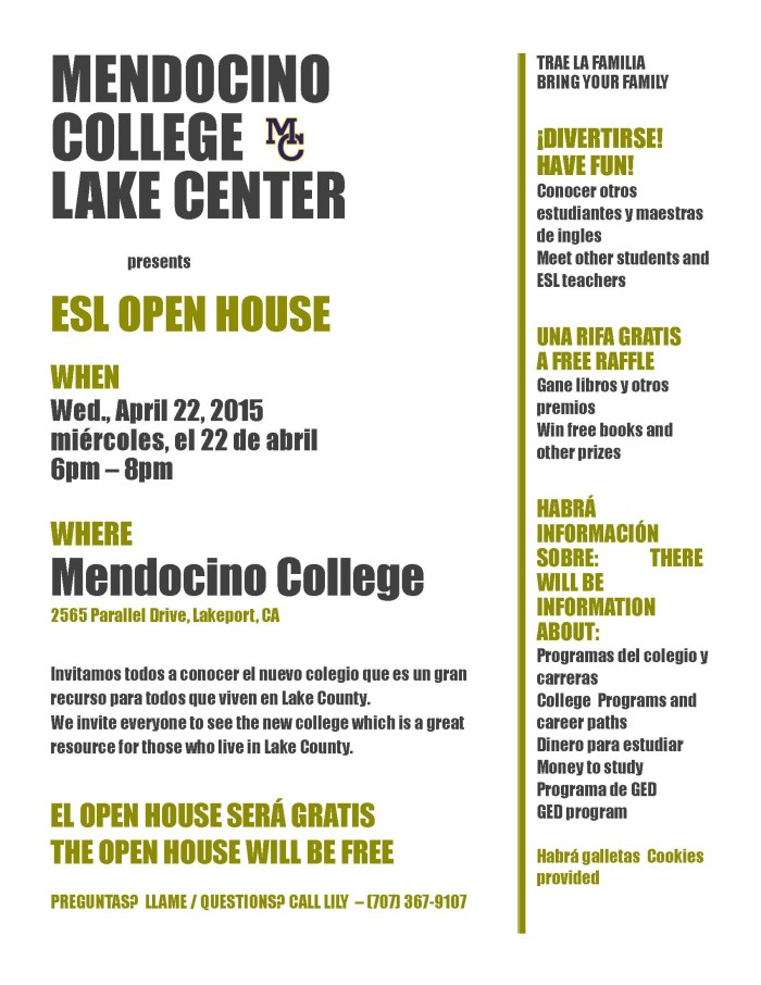 English as a Second Language - Open House @ Mendocino College - Lake Center | Lakeport | California | United States