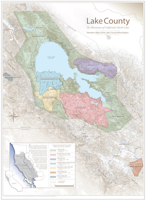 Elevation Map of Lake County Wine Region