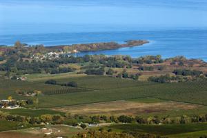 Farm land and lake