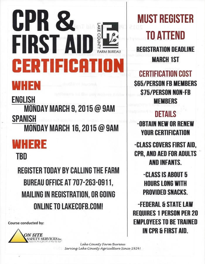 Cpr First Aid Certification English Lake County Winegrape
