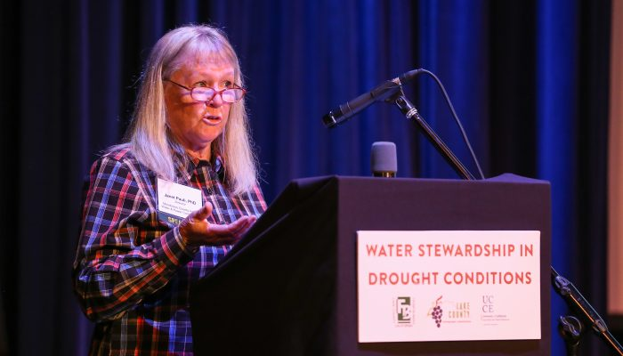 Keynote speaker Janet Pauli PhD discusses initiative to raise Coyote Valley Dam