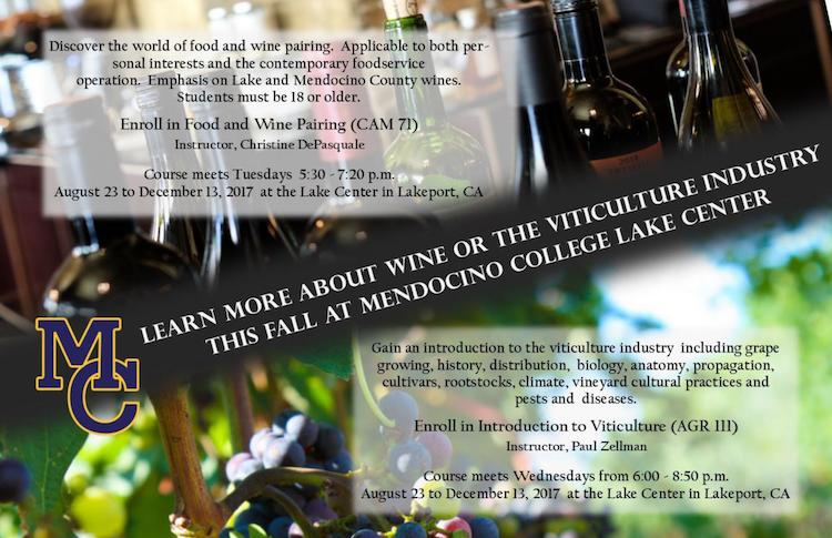Mendocino College Flyer - Viticulture Classes