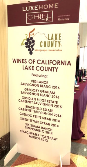 Banner that lists Lake County wines poured at LuxeHome Chill