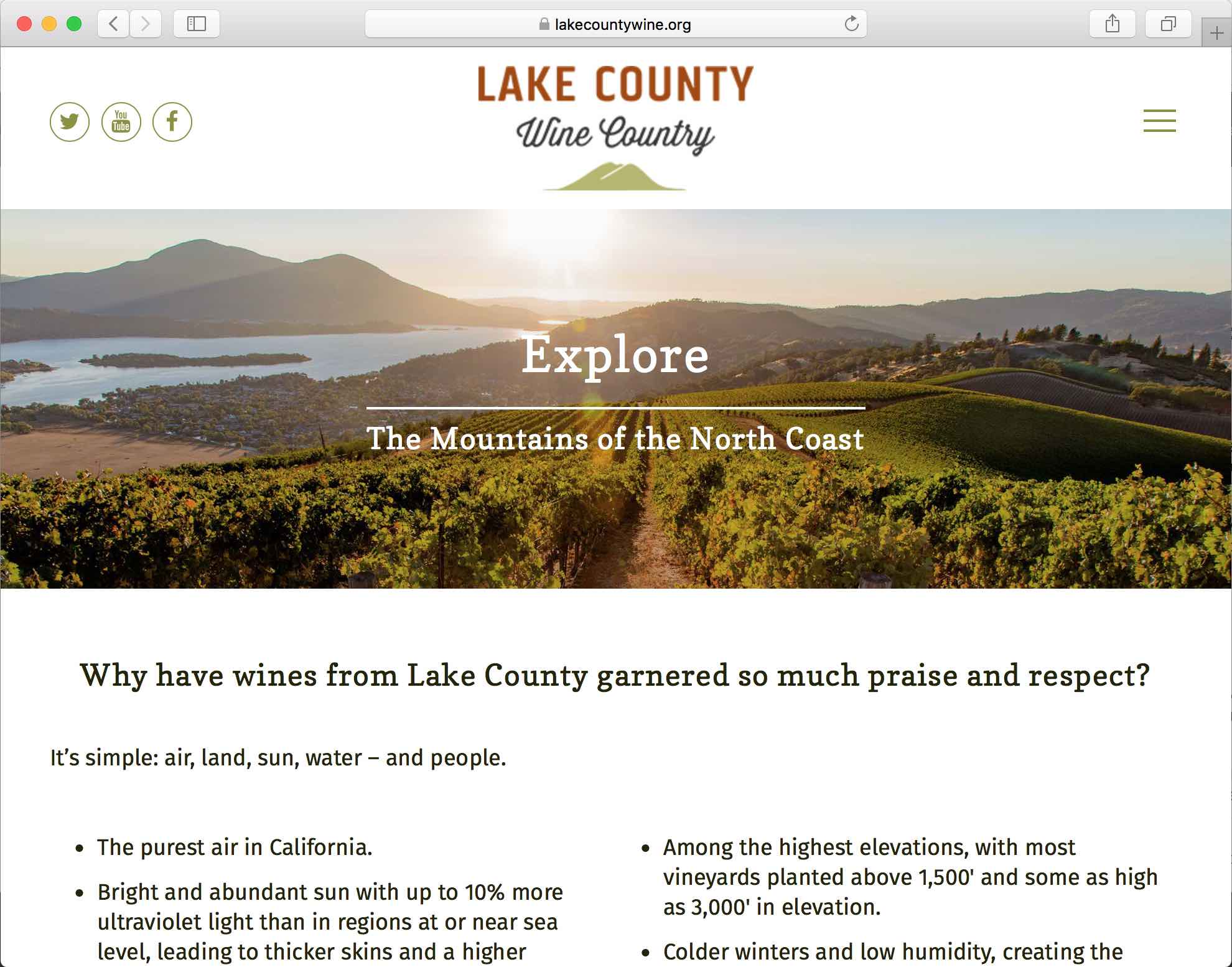 Lake County Wine Country Website