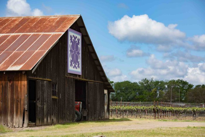 Vineyard with barn and quilt square