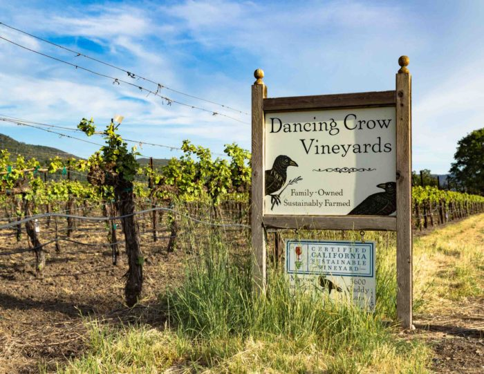 Dancing Crow sign in front of vineyards