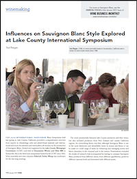 Wine Business Monthly article on 2018 Sauvignon Blanc Experience