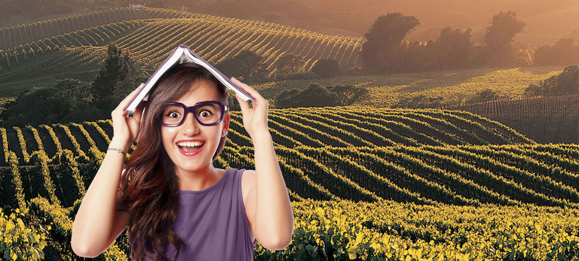 Girl holding book in front of vineyards (CAWG Foundation scholarships)