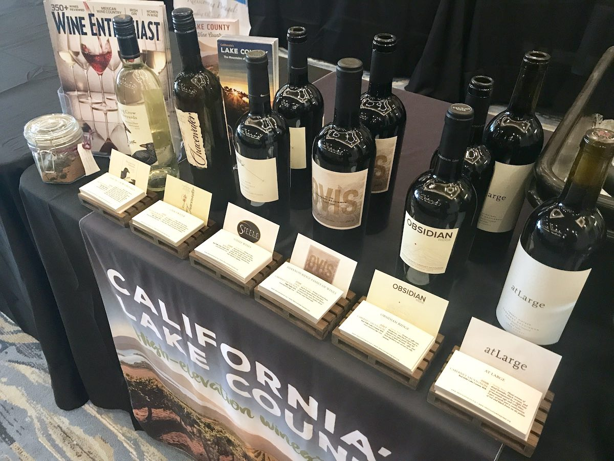 Several brands of Lake County wines on display at Sommcon wine-tasting event