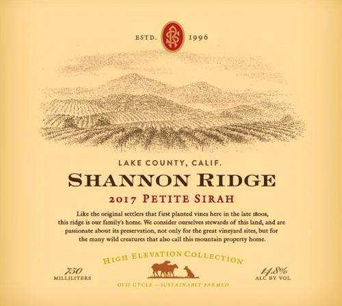 Shannon Ridge 2017 Petite Sirah label
