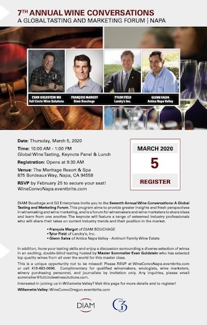 Flyer for 7th annual Wine Conversations, presented by G3 and DIAM