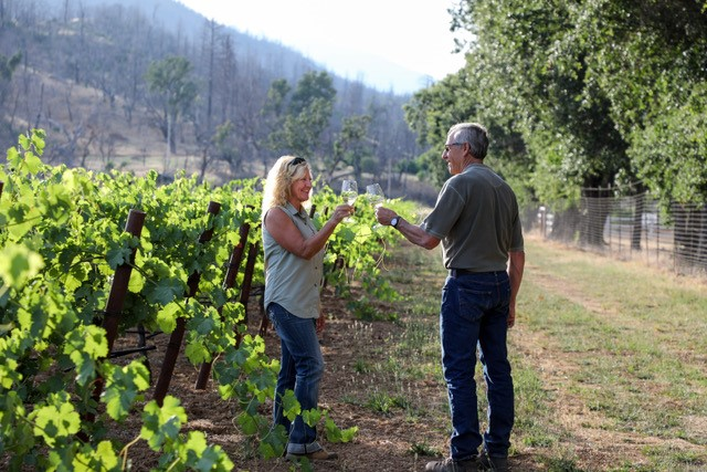 Monica and David Rosenthal raise a glass in the vineyard