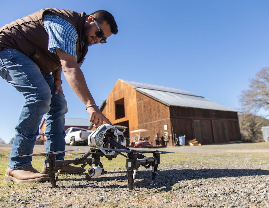 Aldo Cabrera of Beckstoffer Vineyards shows how drones can be used in vineyards