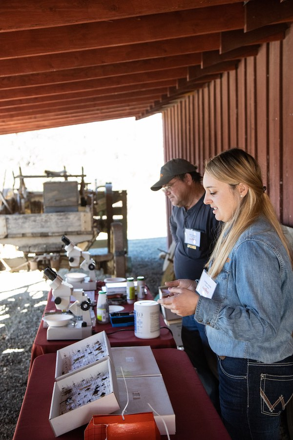 Jeff Gleaves and Lindee Jones of Grow West demonstrate how to identify pests in the vineyard and how to protect the crop