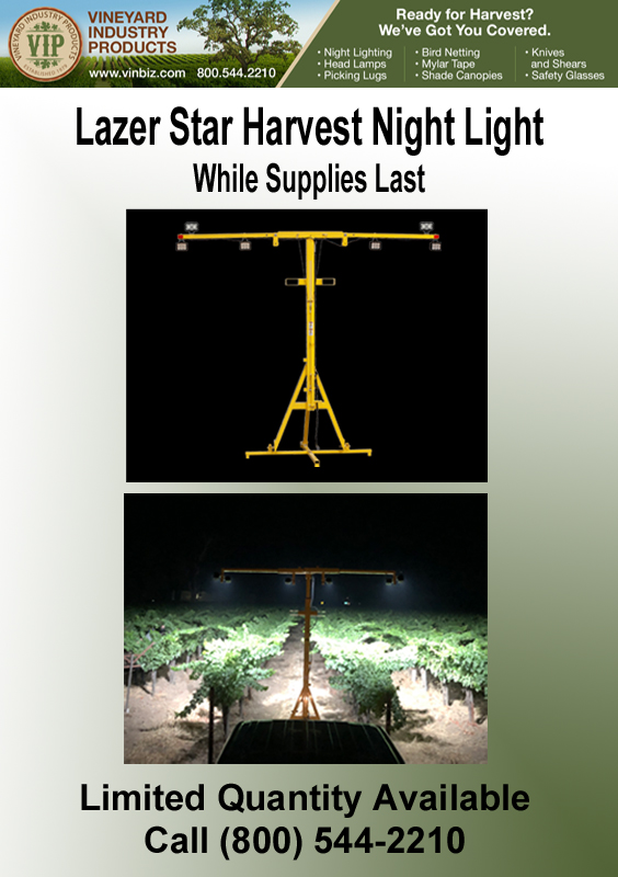 Flyer for Vineyard Industry Products Harvest Night Light
